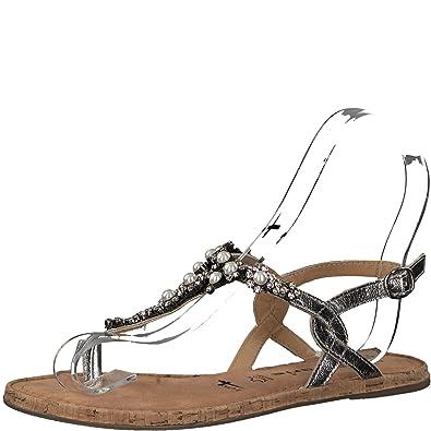 Tamaris 1-1-28099-20 Damen Sandale, Sandalette, Sommerschuhe Für Die Modebewusste Frau Metallic (Silver), EU 42