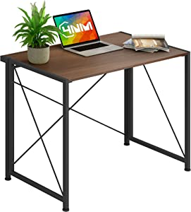 4NM No-Assembly Folding Desk Small Computer Desk Laptop Table Compact Home Office Desk Study Reading Table for Space Saving Office Table (Brown and Black)