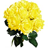 """Mandy's Artificial Real-Touch 17"""" Yellow Silk Roses Flowers for Home Decoration Bridal Wedding Bouquet and Parties (Vase not"""