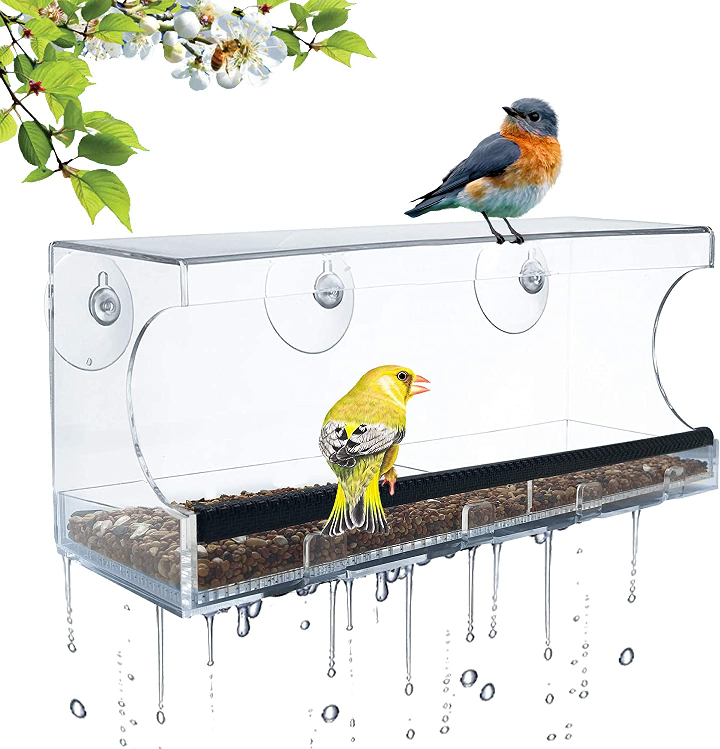 CREPRO Window Bird Feeder with Strong Suction Cups, Removable Seed Tray with Drainage Holes, Anti-Shock Anti-Pressure Very Strong, Wild Bird Watching Gifts for Up-Close, Indoor Bird Watching