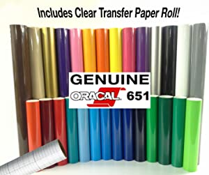 "ORACAL 651 Gloss Craft Adhesive Vinyl 12"" x 30"" Multi-Color Roll Bundle for Silhouette, Cricut & Die-Cutting Machines Including 12"" x 30"" Roll of Clear Transfer Paper (6 Color Roll)"