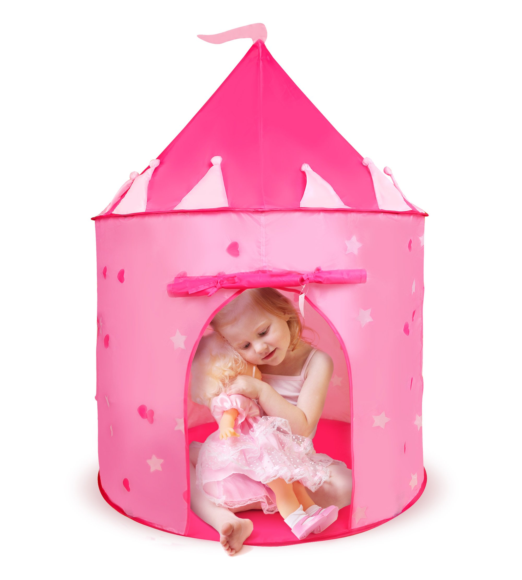Boxiki kids Princess Castle Children's Tent | Pink Castle Tent with Glow in the Dark Stars | Fairy Houses for Kids | Glow Castle Kid's Play Tent for Sleepovers, Playdates & Travel