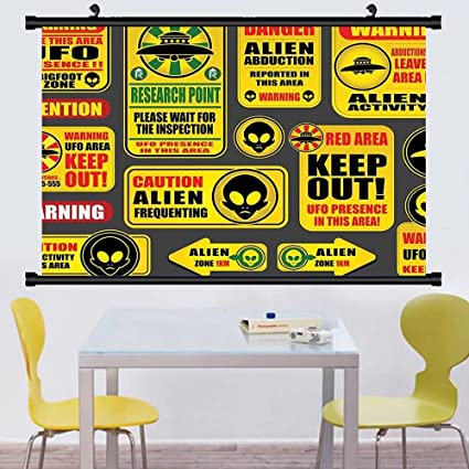 Amazon.com: Gzhihine Wall Scroll Outer Space Decor Warning Alien Ufo ...