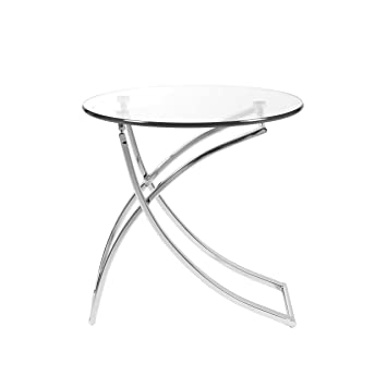 Beautiful Euro Style Talisa Glass Top Side Table With Chromed Steel Base