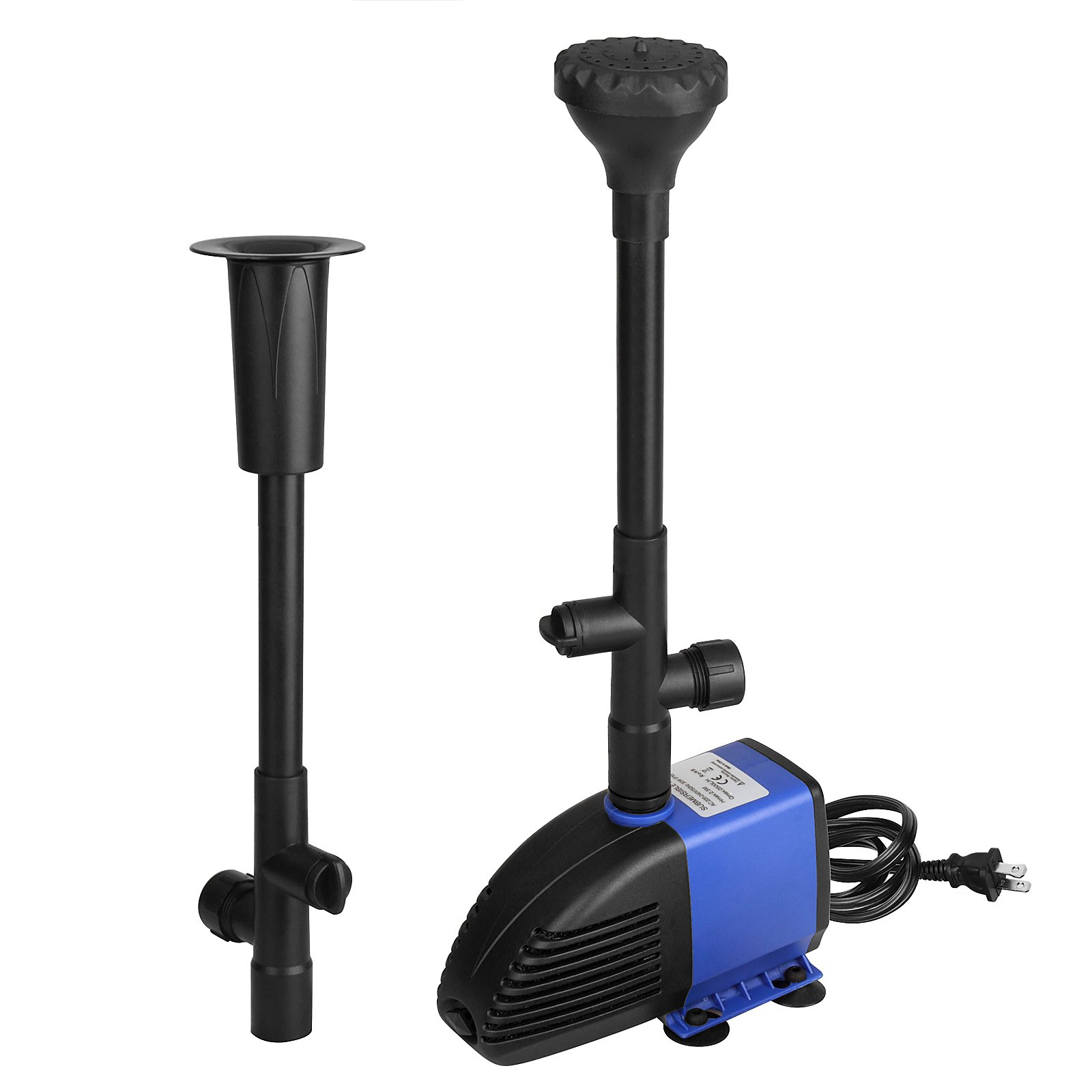 30W Oxygen Submersible Water Pump 2000L/H Water Fountain Aquarium 4m High Lift, Fountain Pump with 1.4m Power Cord for Pond Fish Tank with two nozzle 2 Water Patterns