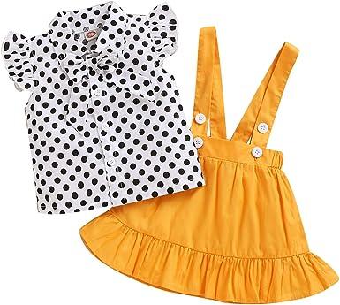 Tianhaik Conjunto de Ropa de Lunares de 2 Piezas para Niña Pequeña Camisa de Manga de Volantes de Algodón de Verano + Falda de Tirantes Amarilla