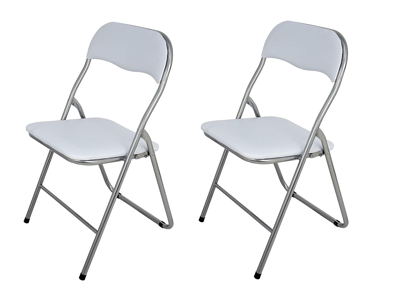 La Silla Española - Pack 4 Sillas plegables fabricadas en aluminio con asiento y respaldo acolchados en PVC, modelo Sevilla. Color blanco. Medidas ...