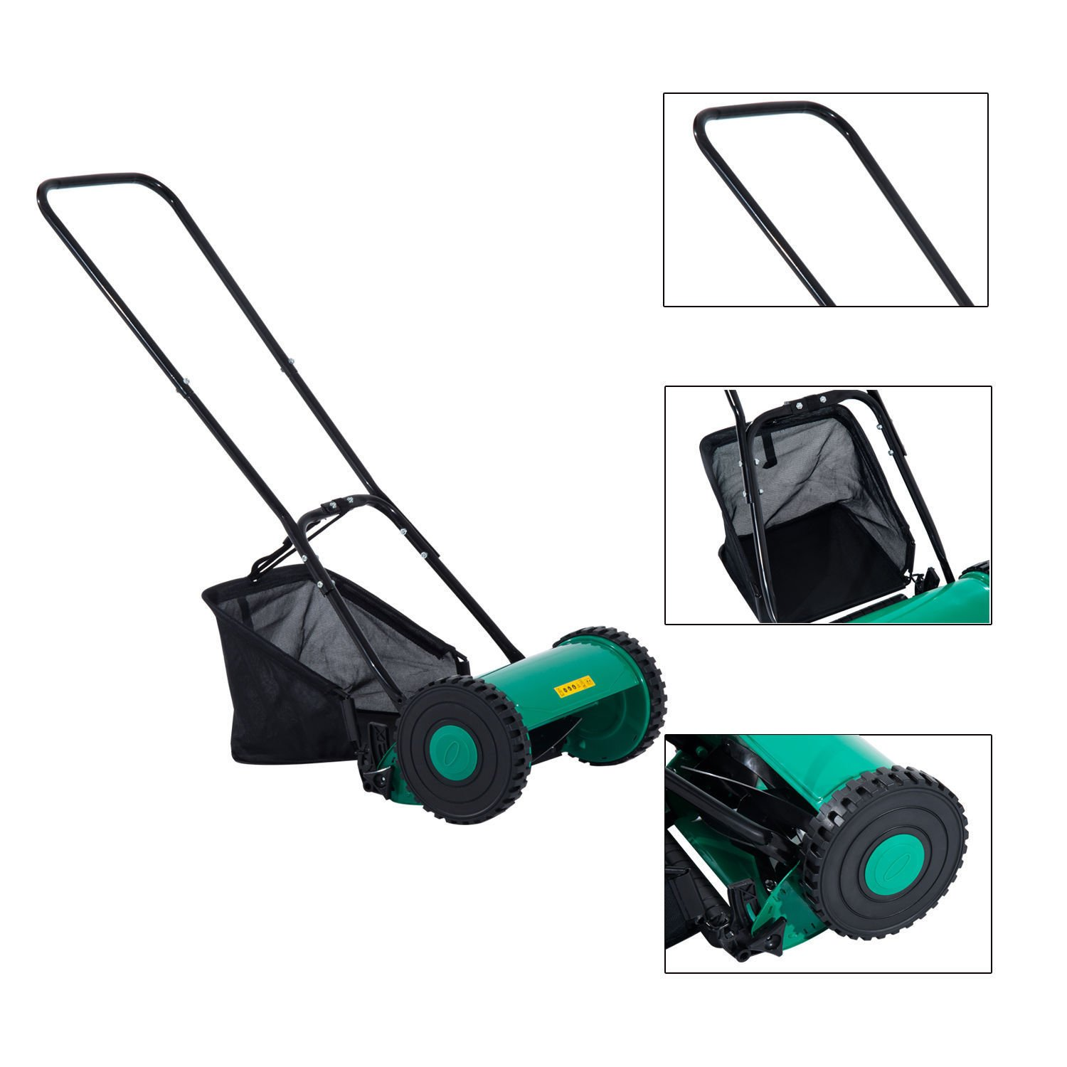 Globe House Products GHP Outdoor Green & Black Compact Light-weight 6.6 Gallons Capacity Push Lawn Mower