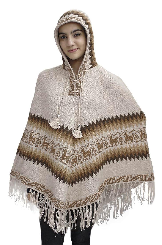 Amazon.com: Women\'s Alpaca Wool Hooded Poncho Cape Knit Yarn Coat ...