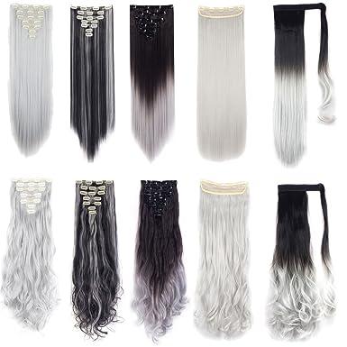 Amazon Com Fut Silver Grey Hair Extensions Ponytail Wrap Around