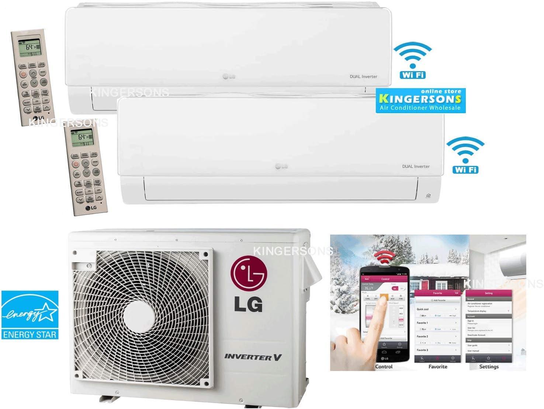 Amazon Com Lg 2 Ton 24000 Btu Seer 21 Dual Zone 9k 18k Btu Heat