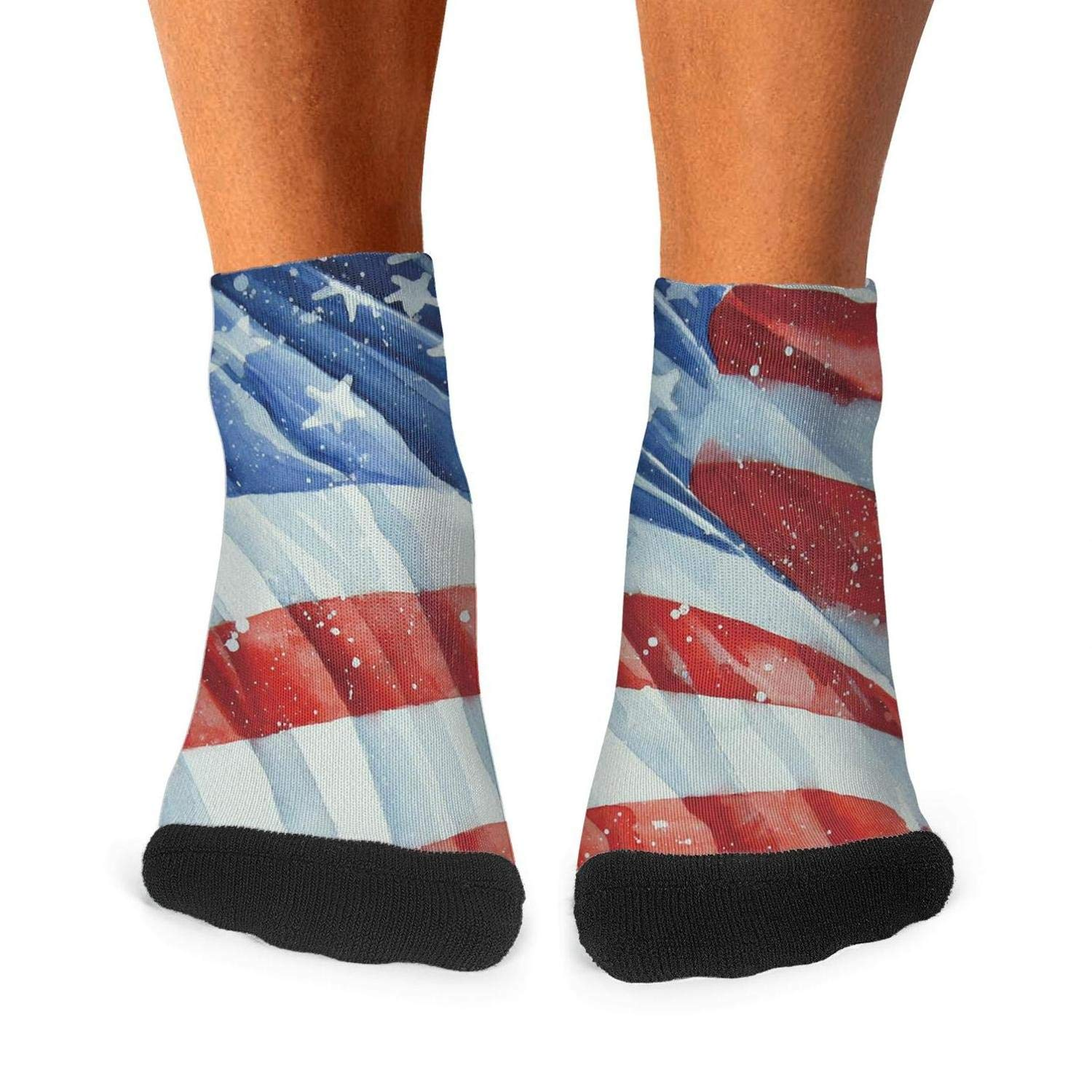 Tasbon Mens Athletic Socks Happy 4th of July American flag patriotic10 Classic Breathable Comfort Crew Socks