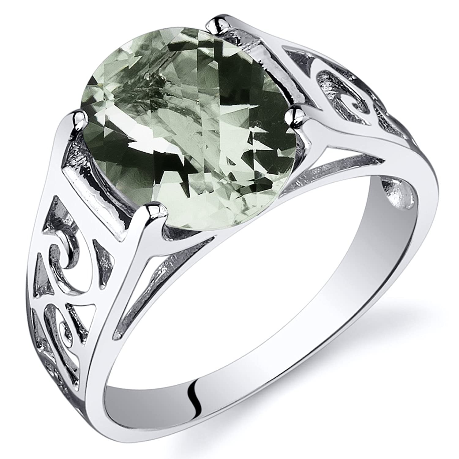 Green Amethyst Solitaire Ring Sterling Silver Rhodium Nickel Finish Oval Cut 2.25 Carats Sizes 5 to 9