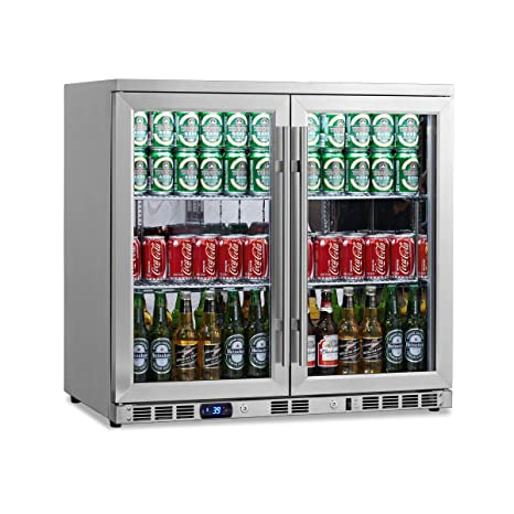 undercounter beverage cooler marvel kingsbottle 169 can 2door under counter beverage cooler with heating glass stainless steel amazoncom