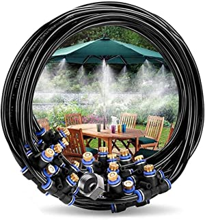Innoo Tech Misting Cooling System 49.2FT(15M) Misting Line+ 12 Brass Mist Nozzles + 8 Brass Adapters Outdoor Mister for Patio Garden Greenhouse Trampoline for waterpark