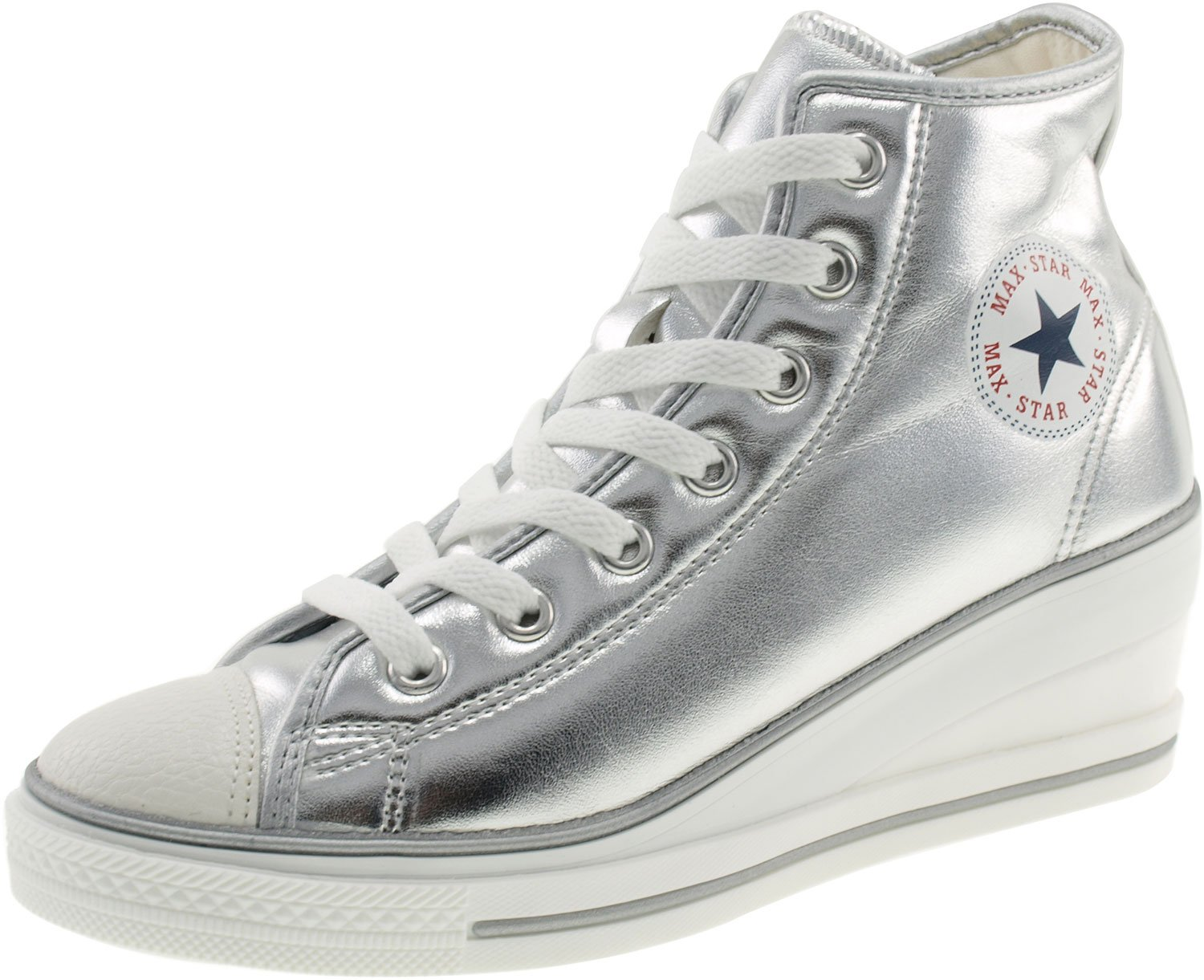 Maxstar Women's 7H Zipper Low Wedge Heel Sneakers B00COWNKOU 5.5 B(M) US|Pu-silver
