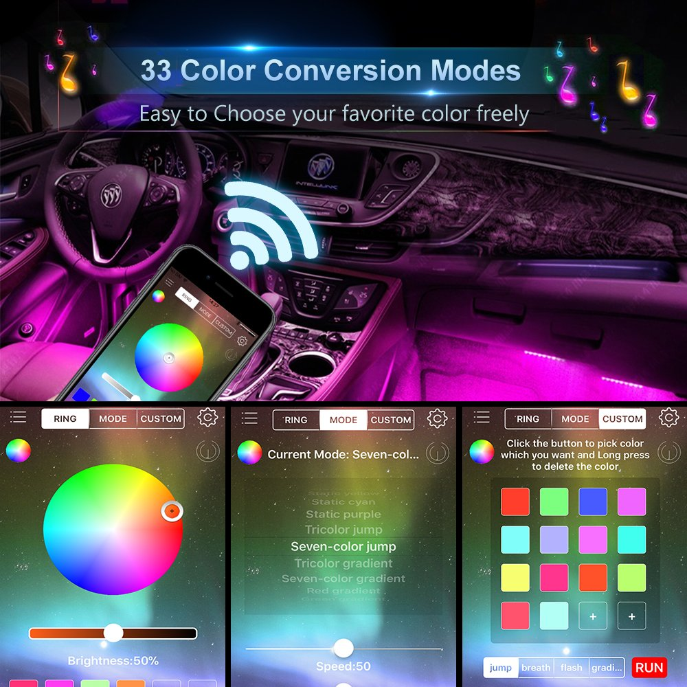 Wsiiroon Newest Style RF Remote Control Car Interior Lights Upgraded 16 Fixed Colors Unique Breathing Function Sound Active Function Car LED Strip Light Longer Control Distance DC 12V