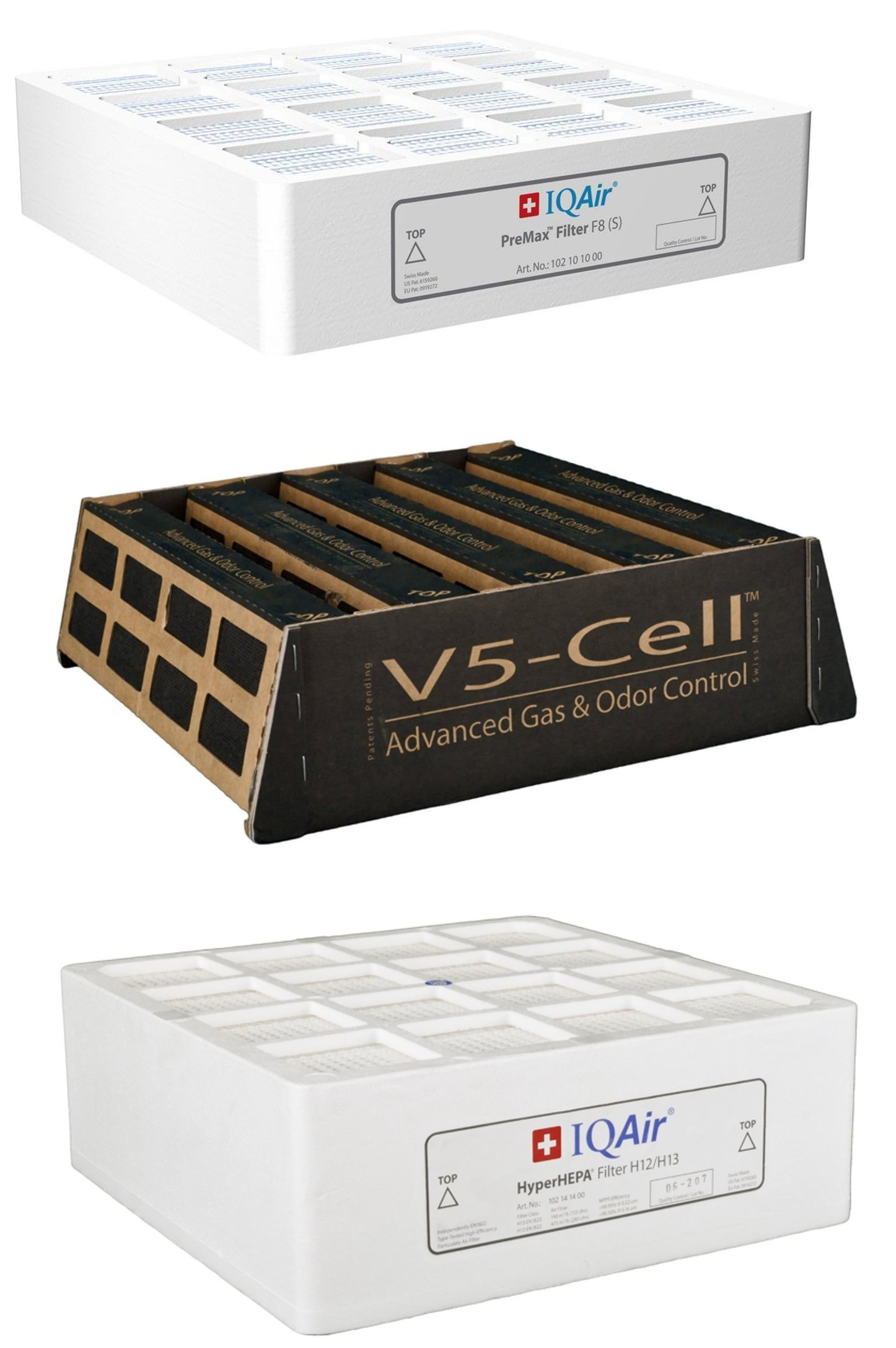 IQAir HealthPro Plus 3 Filter Bundle (PreMax, V5-Cell, HyperHEPA)