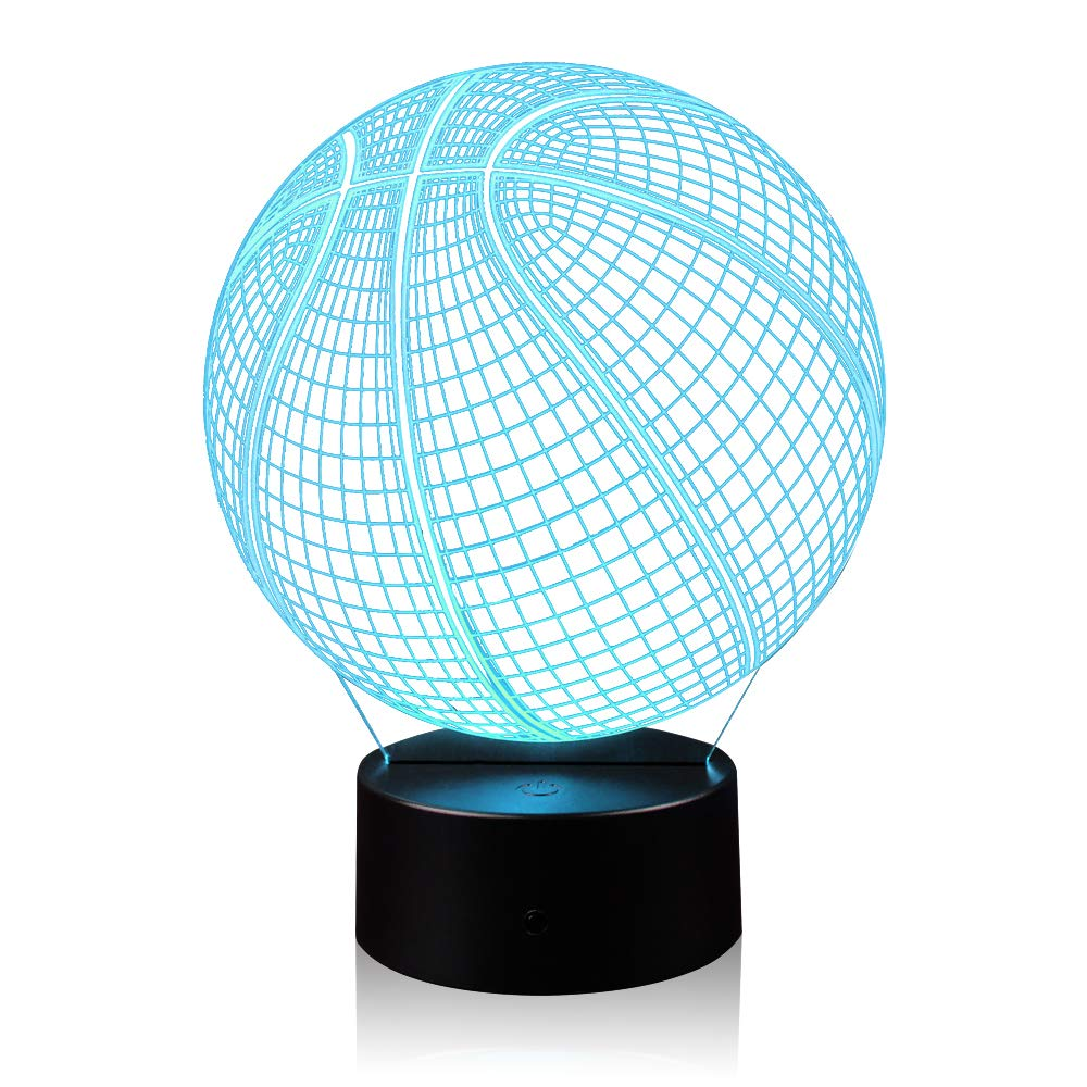 3D Illusion Basketball Night Light Lamp with 7 Color Change, Touch Base, Power by AA Batteries by AZALCO (Image #9)