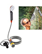 Ivation Portable Camping Shower | Compact Handheld & Hands-Free Rechargeable Outdoor Shower Head & Cleaning System w/ 3.7V Pump, 6-Ft Hose, Bidet Head, Removable Filter, Multiuse Hook & USB Cable