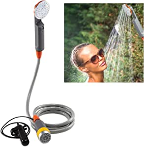 Ivation Portable Camping Shower   Compact Handheld & Hands-Free Rechargeable Outdoor Shower Head & Cleaning System w/ 3.7V Pump, 6-Ft Hose, Bidet Head, Removable Filter, Multiuse Hook & USB Cable