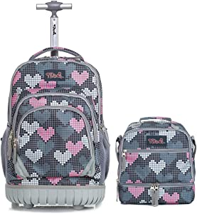 Tilami Rolling Backpack 19 inch with Lunch Bag Wheeled Laptop Backpack, Heart Grey