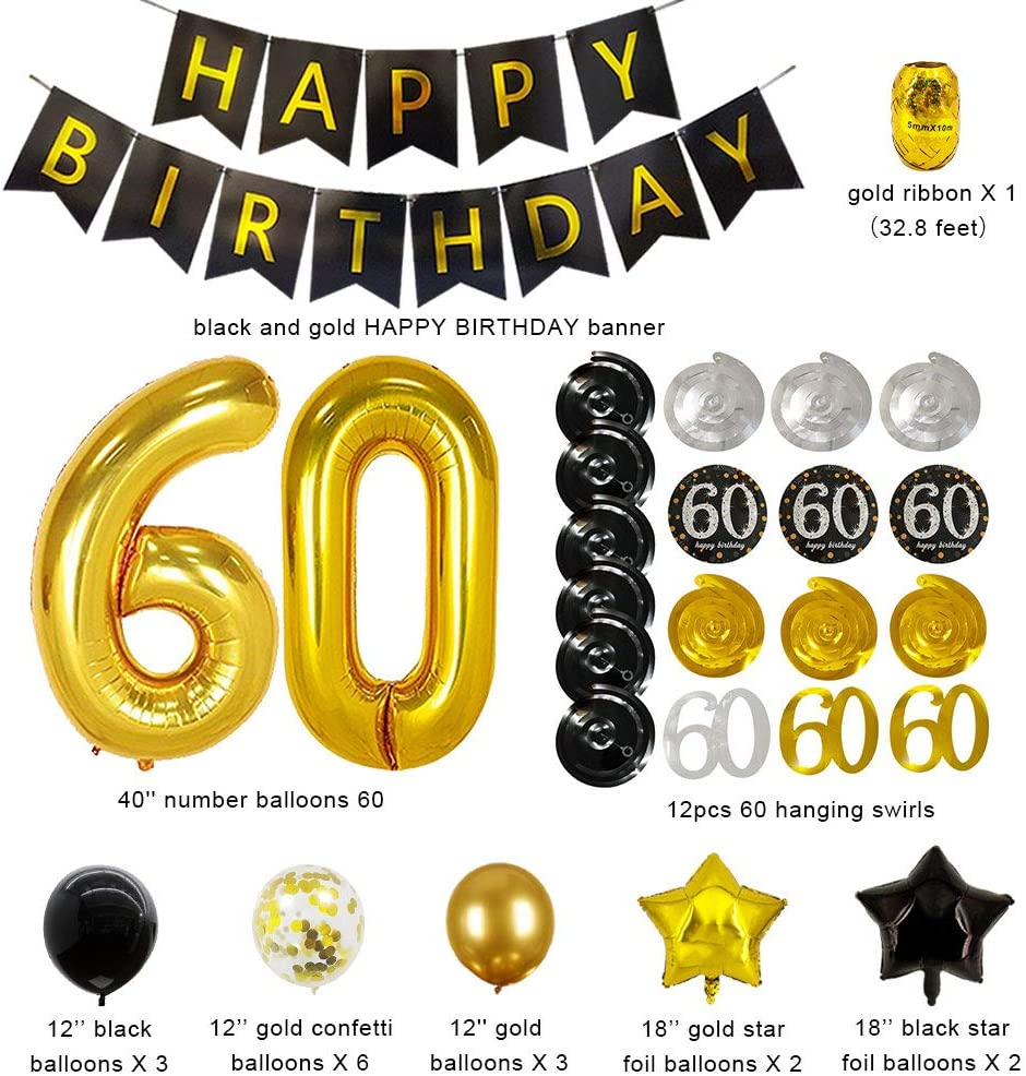 60th Birthday Decorations for Women Her 60th Birthday Balloons 60th Birthday Party Happy 60th Birthday Decotations 60 Years Old Birthday Decoration Balloon Kits With 60th Banner Ballon