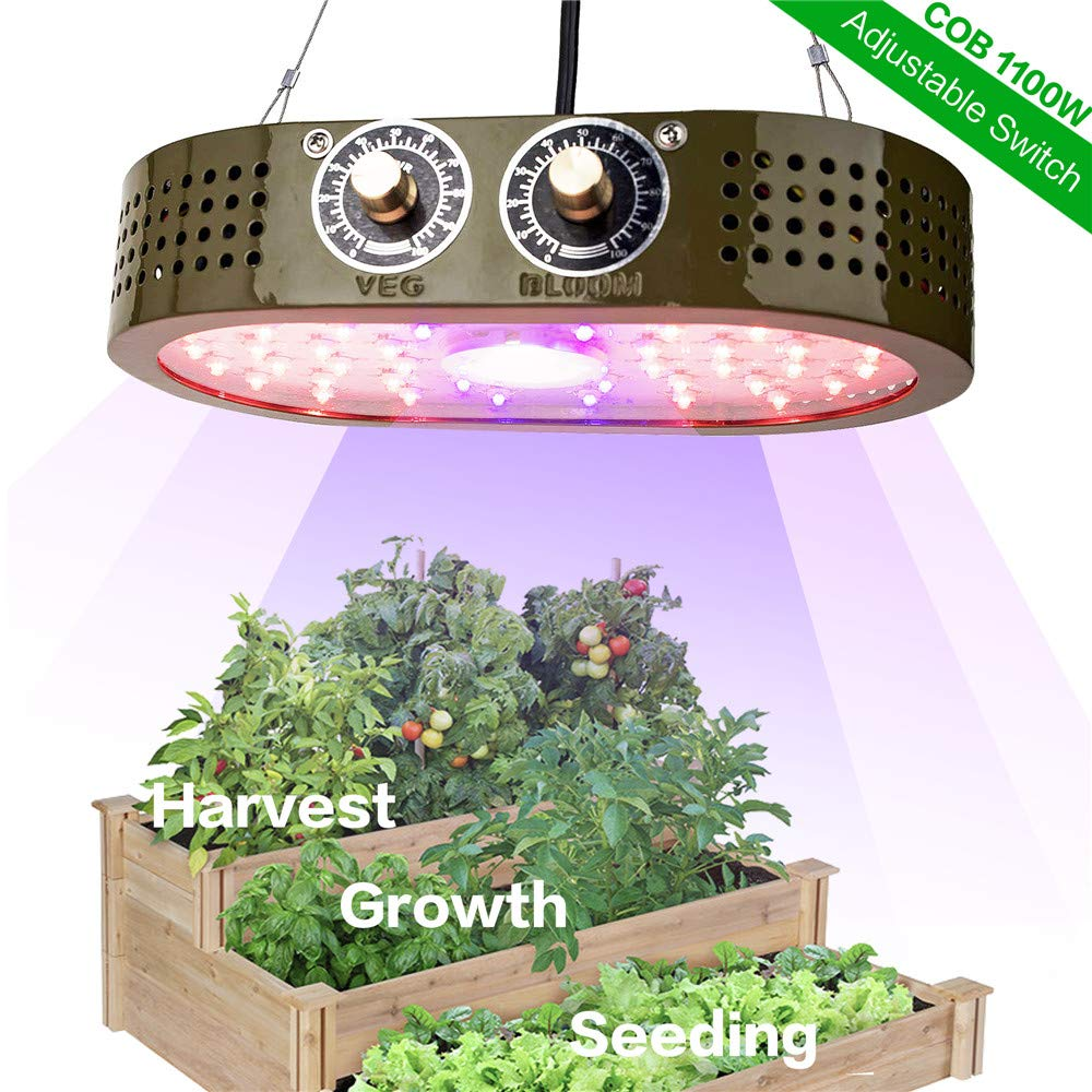 ASPEIKE COB LED Grow Light 1100W for Indoor Plants, Full Spectrum LED Plant Grow Lamp with Veg and Bloom Adjustable Knobs and Super Brightness, Widely Use for Tent, Greenhouse and Indoor Garden