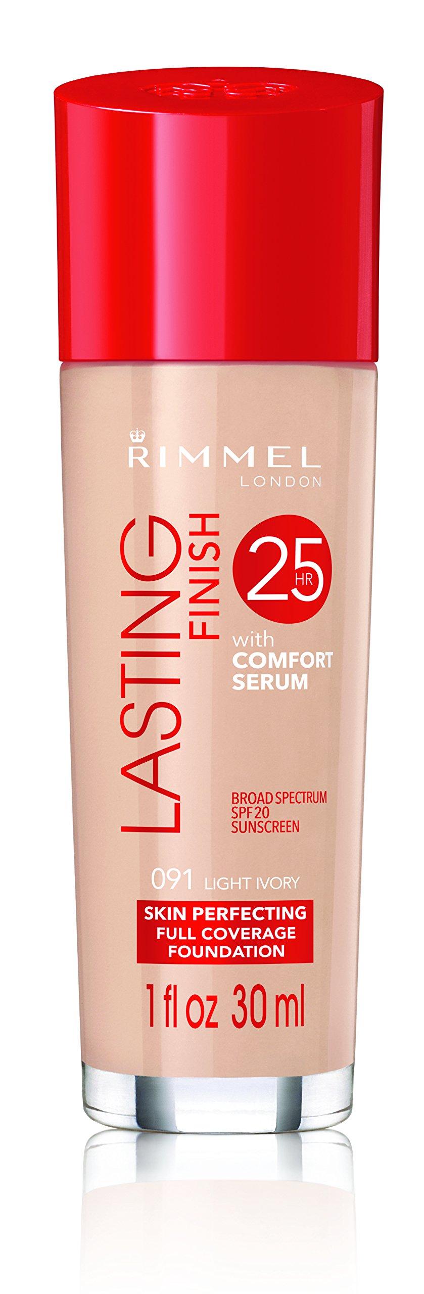 Rimmel Lasting Finish Foundation, Light Ivory, 1 oz., Medium Coverage Liquid Foundation with SPF 20, Long Lasting Smooth & Even Look