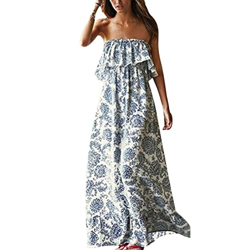 Genorvia Ladies Maxi Dress Summer Print Ruffle Long Strapless Beach Party Dress