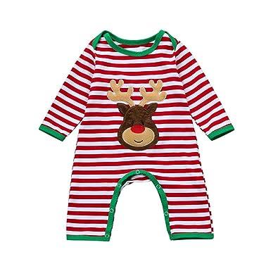 4f2d62560 Bebé Recién Nacido Bebé Ciervos Rayas Mono Ropa de Navidad para Niño y Niña  por ESAILQ  Amazon.es  Ropa y accesorios