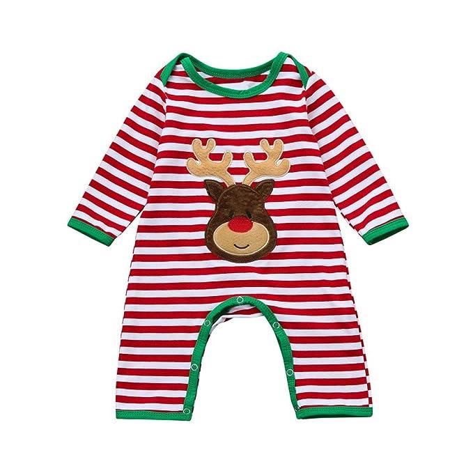 Bebé Recién Nacido Bebé Ciervos Rayas Mono Ropa de Navidad para Niño y Niña por ESAILQ