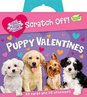 Peaceable Kingdom Puppy Love Scratch Off Message 28 Card Super Valentine  Pack