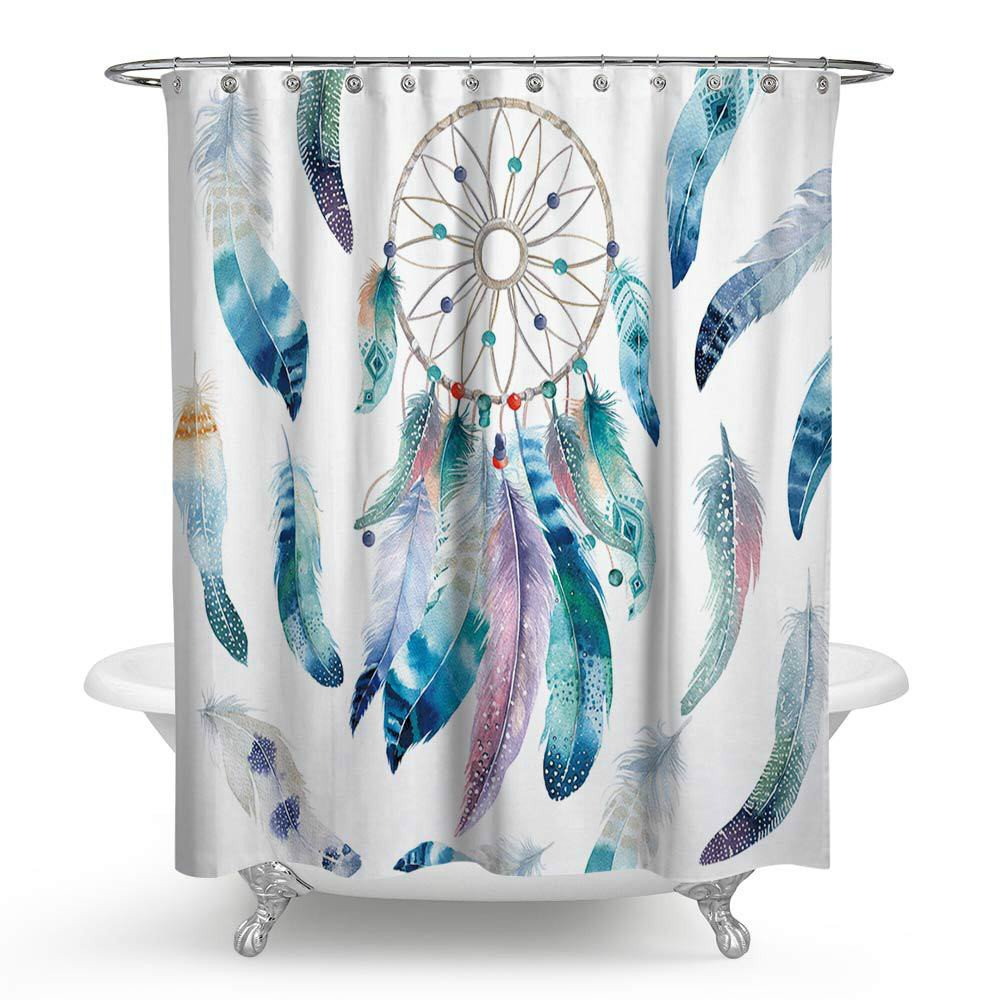 Fabric Shower Curtain Dream Catcher Waterproof Mould Resistant PEVA Bathroom Bath Curtains Including Hooks, W70 inches X H70 inches by ZHH