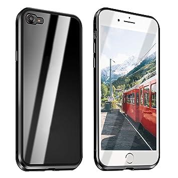 Funda Compatible para iPhone 6/iPhone 6S Adsorción Magnética 360 Grados Protección Carcasa Delantera y Trasera Colorear Vidrio Templado Metal Marco ...