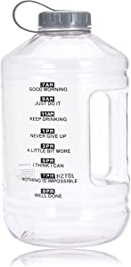 JOYSHAKER 1 Gallon Water Bottle with Wide Mouth Loop-Top, BPA Free Large Water Bottle with Motivational Time Marker Leak-Proof Daily Perfect Big Water Jug for Fitness Gym Camping and Outdoor Activity (Clear Gallon)