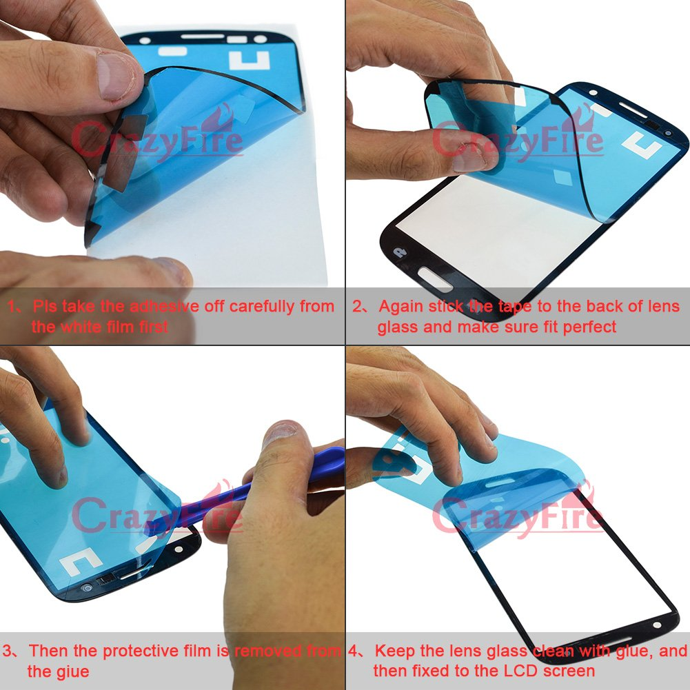 Lcd screen protector guard for samsung galaxy s3 i9300 galaxy s iii - Amazon Com Crazyfire Pebble Blue New Front Outer Lens Glass Screen Cover Replacement For Samsung Galaxy S3 Siii I9300 I747 L710 T999 I535 Tools