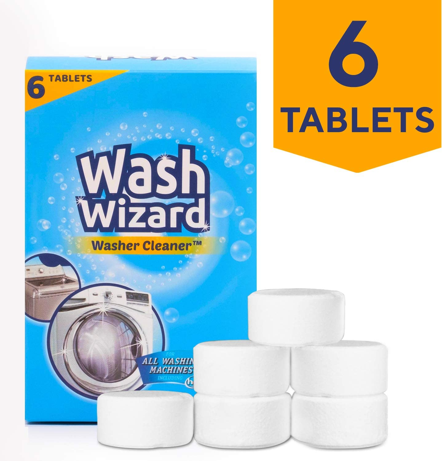WASH WIZARD Washing Machine Cleaner - 6 Tablets (White), Cleans Front Load and Top Load Washers Including HE, Safe For all Washer Components and Septic Tanks