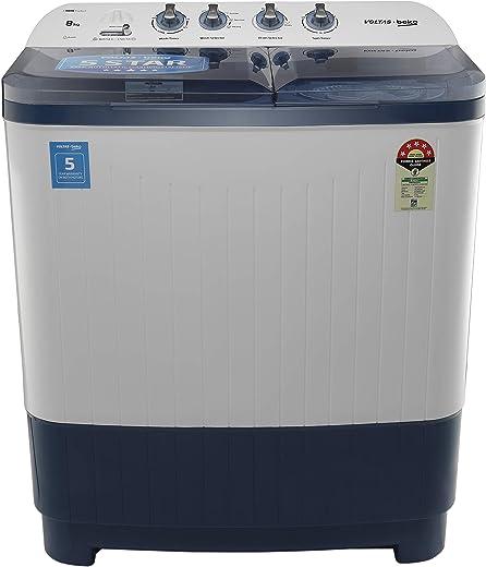 Voltas Beko 8 kg Semi-Automatic Top Loading Washing Machine (WTT80DBLT, Sky Blue)