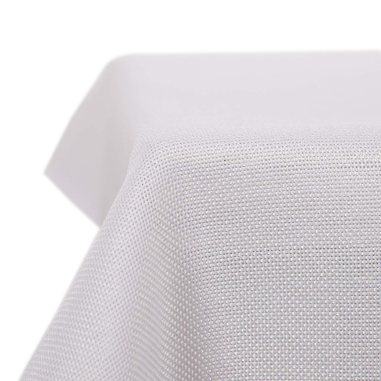 Deconovo Leinenoptik Tischdecke Wasserabweisend Tischwäsche Lotuseffekt 130x130 cm Beige