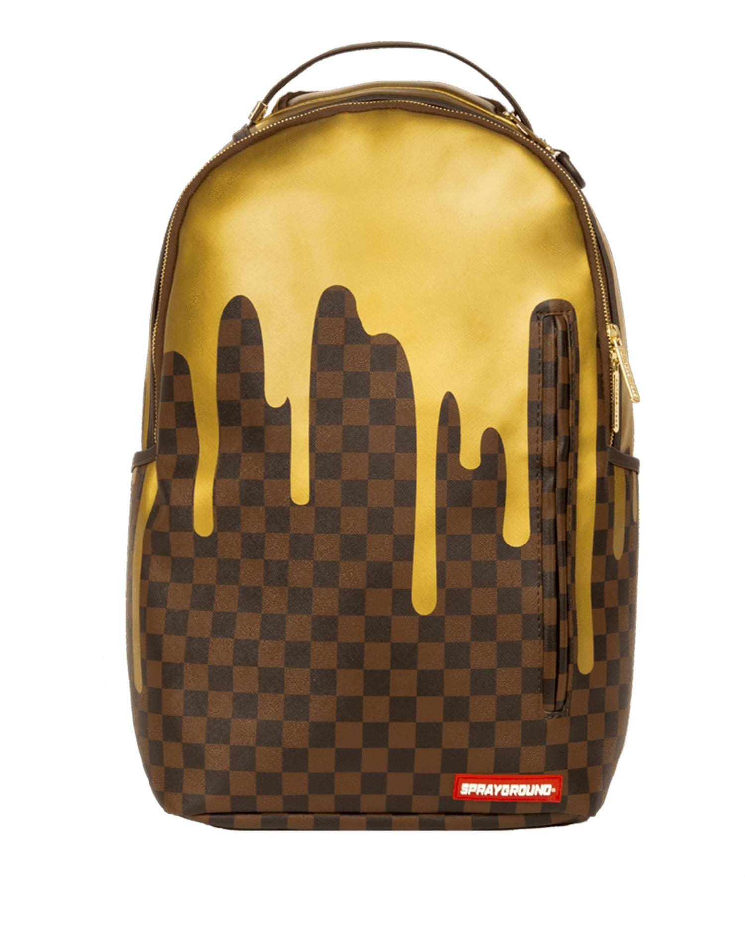 Sprayground Unisex-Adult Gold Checker Drips Backpack One by Sprayground