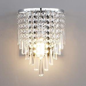 Pathson Crystal Wall Light, Chrome Finish Wall Sconce, Modern K9 Acrylic Crystal Drops Shade Wall Lamp Bedroom Living Room Lighting