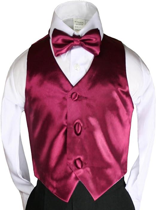 2pc Red Necktie Vest Set Boy Wedding Graduation Party Formal Suit Sm-20