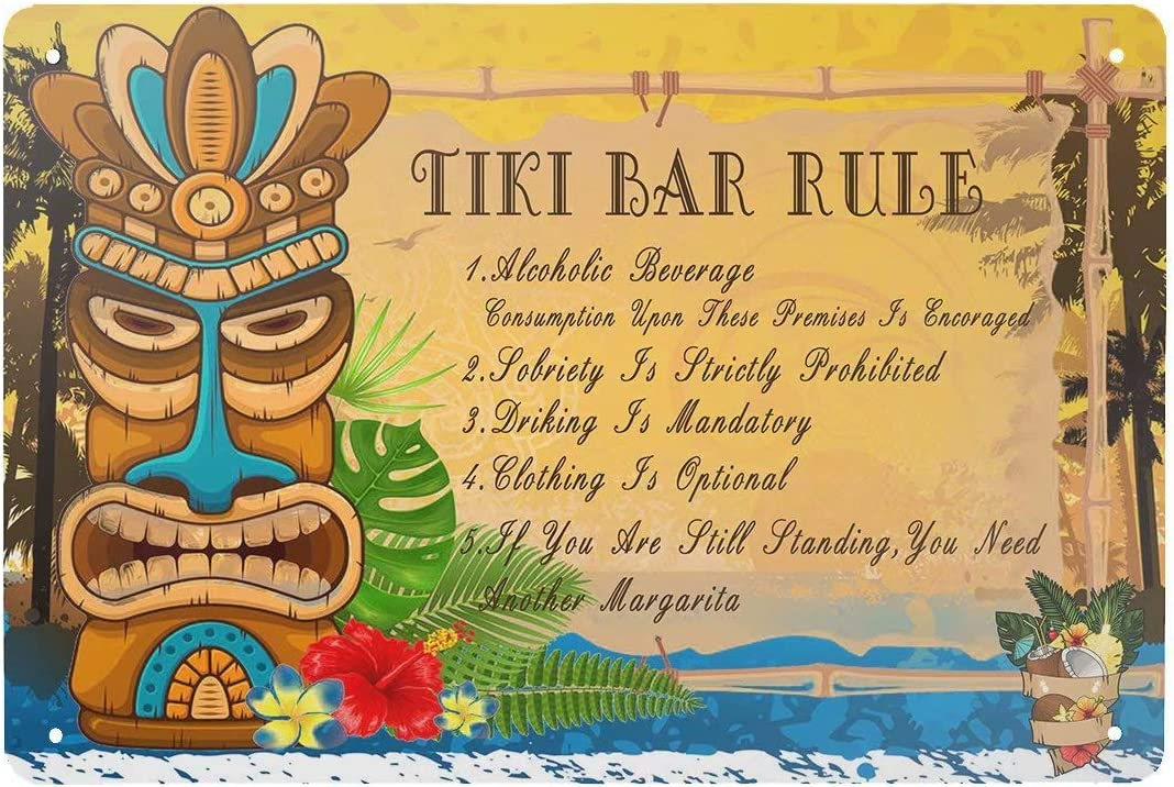 HERYNLRN Retro Tin Signs Vintage Style Tiki Bar Rule Metal Sign Iron Painting for Indoor & Outdoor Home Bar Coffee Kitchen Wall Decor 12 x 8 INCH