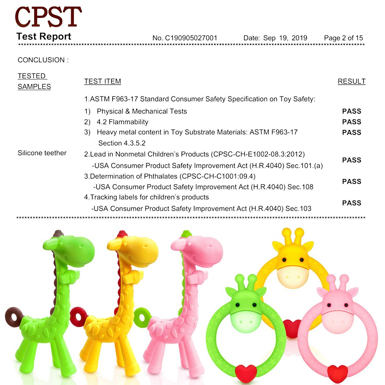 f/ür 3 Monate /über Zahnfleischschmerzen Schmerzlinderung TitaCare BPA Free 2 Silikon Giraffe Baby Bei/ßring Spielzeug mit Aufbewahrungskoffer Blau Set mit 2 verschiedenen Bei/ßspielzeugen