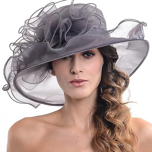 Donna Organza Ascot matrimonio tesa larga cappello con fiore rotondo