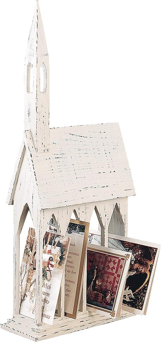 GALLERIE II Rustic Church Card Holder Christmas Holiday Xmas Card Holder D/écor Decoration White