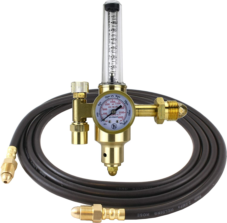 """Argon CO2 Regulator Gauges Mig Tig Flow Meter /& 6/"""" Inert Gas Hose Welding CGA580"""