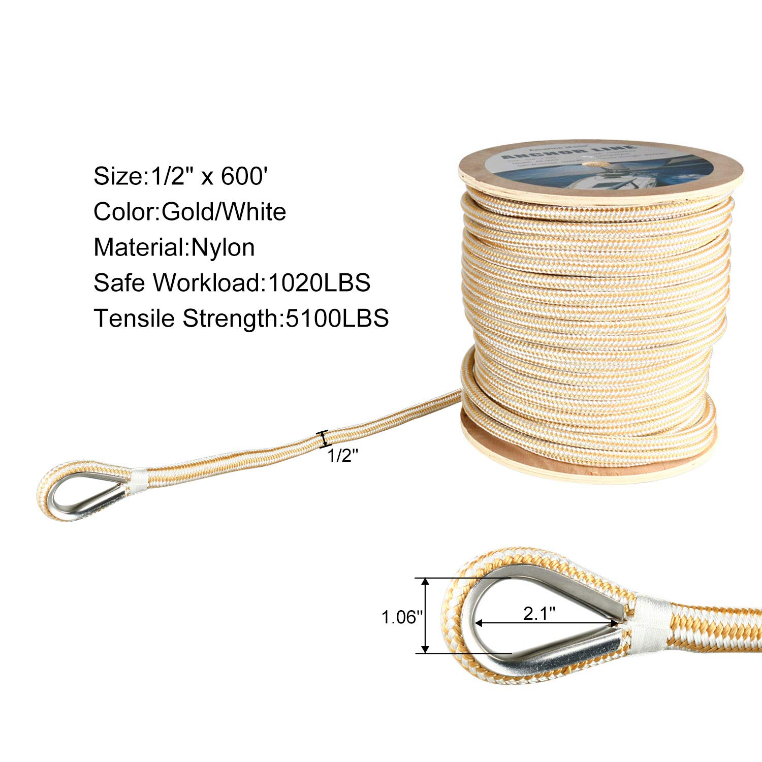 Amarine Made Heavy Duty Double Braid Nylon Anchor Line with Stainless Steel Thimble-White/Gold (1/2'' x 600')