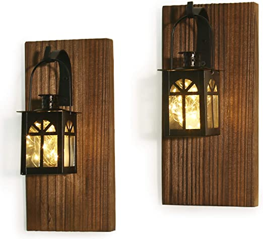 Amazon Com Rustic Wall Decor Wall Sconce Farmhouse Wall Decor Mounted Hanging Metal Lanterns With Fairy Lights 2 Brown Kitchen Dining